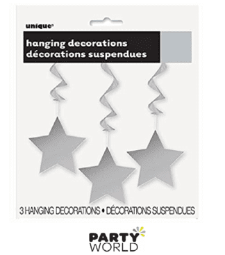 silver hanging star decorations