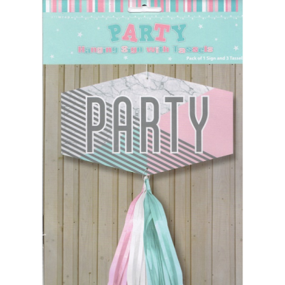 Marble Party Hanging Sign with Tassels