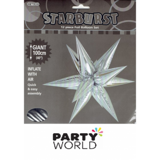 Silver Giant Starburst Foil Balloon Set DIY air 1m