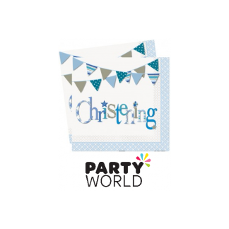 Blue Bunting Christening Luncheon Napkins (16)