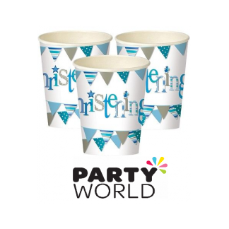 Blue Bunting Christening Paper Cups (8)