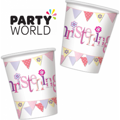 Pink Bunting Christening Paper Cups (8)