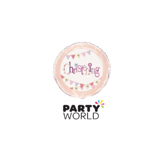 Pink Bunting Christening Foil Balloon