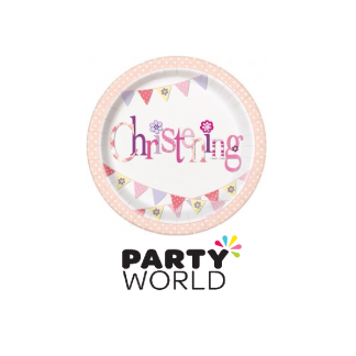 Pink Bunting Christening Paper Plates 9in (8)