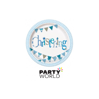 Blue Bunting Christening Paper Plates (8)