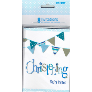 Blue Bunting Christening Invitations (8)