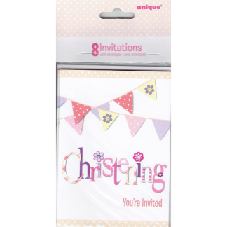Pink Bunting Christening Invitations (8)