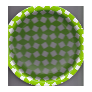 Round Green Patterned Paper Plates (8)