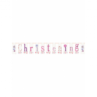Pink Bunting Christening Banner