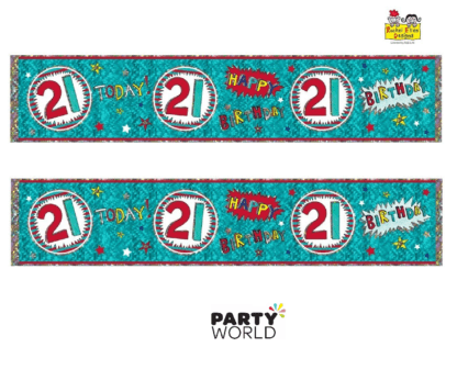 21st birthday banner teal red