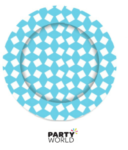 teal patterned plates