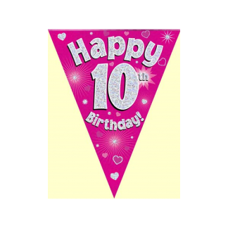 Happy 10th Birthday Pink Bunting
