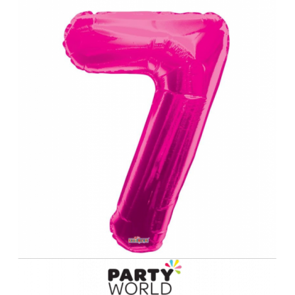 Giant Hot Pink Foil Number Balloon - 7