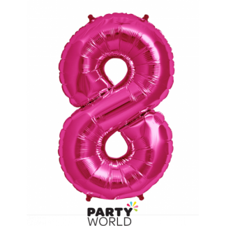 Giant Hot Pink Foil Number Balloon - 8