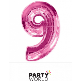 Giant Hot Pink Foil Number Baloon - 9