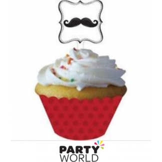 Mustache Cupcake Wrappers with Toppers (12)