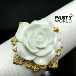 Gold Napkin Ring with White Rose
