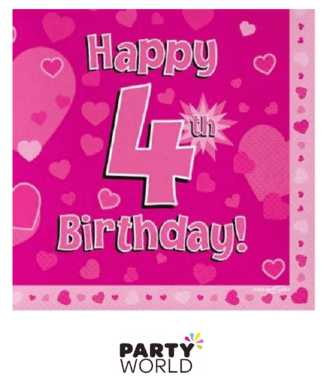 4th birthday pink napkins