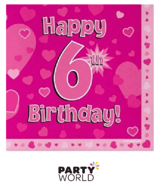 6th birthday pink napkins