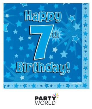7th birthday napkins blue