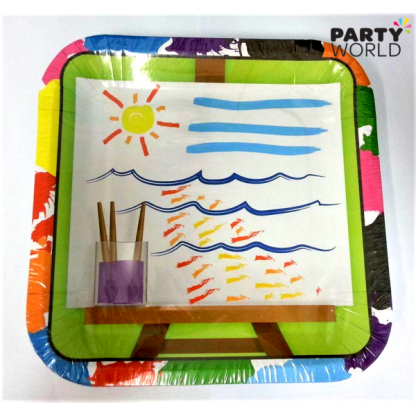 Art Party Square Paper Plates 9in (8)