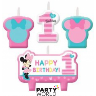 Minnie's Fun To Be One Candle Set (4)