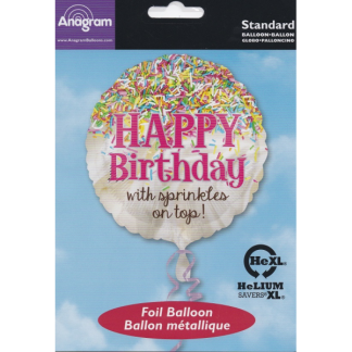 Happy Birthday with sprinkles on top! Foil Balloon