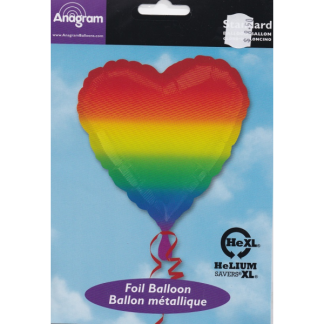 Rainbow Heart Shaped Foil Balloon