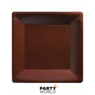 Chocolate Brown 9 in Square Paper Plates (18)