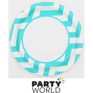 Caribbean Teal Chevron 9in Plate (8)