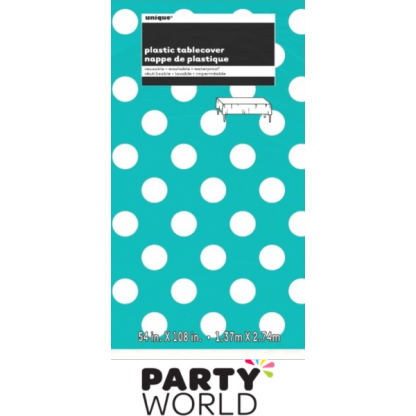 Caribbean Teal Dots Plastic Table Cover