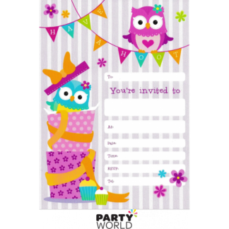 Hoot Owl Birthday Invitations & Envelopes (12)