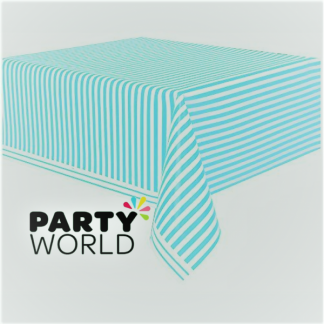 Caribbean Teal Stripe Plastic Table Cover