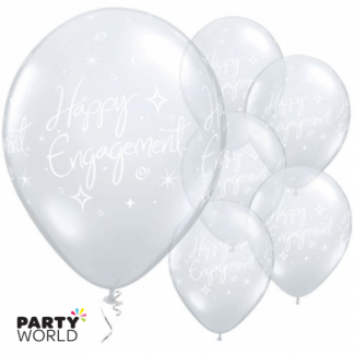 Clear Happy Engagement Balloons (5)