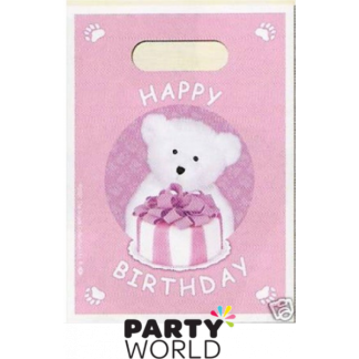 Bears Birthday Pink Loot Bags (8)