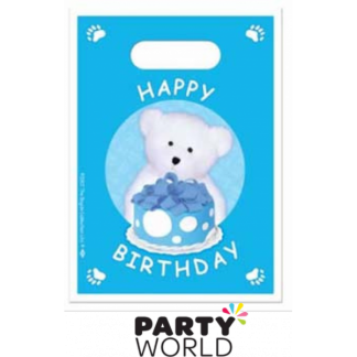Bears Birthday Blue Loot Bags (8)