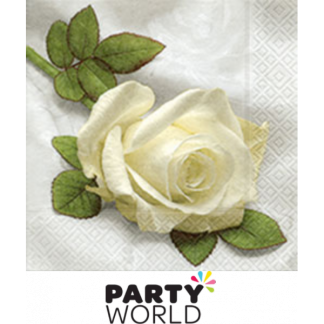 So Beautiful White Rose Beverage Napkin (20)