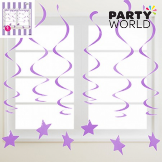 Purple Swirl Hanging Decorations With Stars (6)
