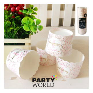 Foiled Pink 1st Birthday Paper Baking Cups (25)