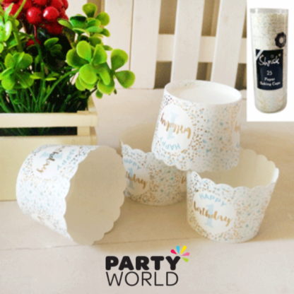 Foiled Blue 1st Birthday Paper Baking Cups (25)