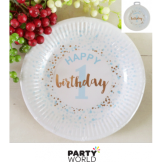 Foiled Blue 1st Birthday Paper Plates 7in (12)