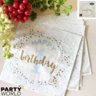 Foiled Blue 1st Birthday Luncheon Napkins (16)