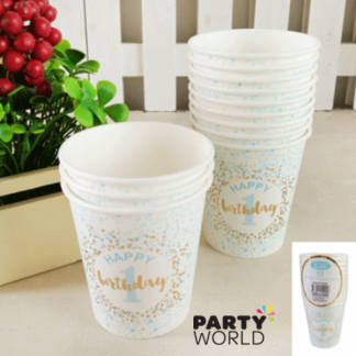 Foiled Blue 1st Birthday Paper Cups (12)