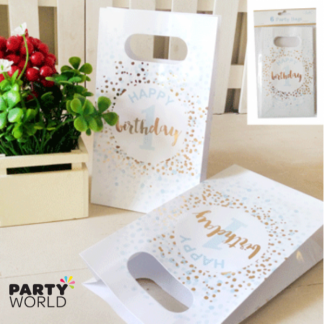 Foiled Blue 1st Birthday Paper Party Bags (6)