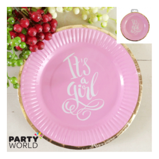 Foiled Pink Its A Girl Baby Shower Paper Plates 9in (12)