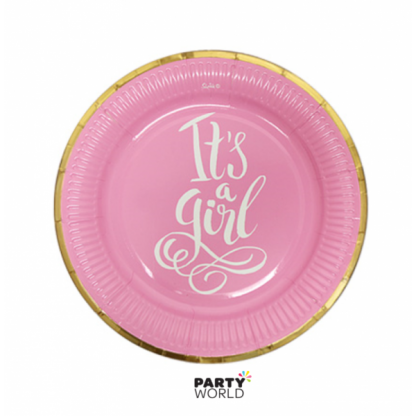 Foiled Pink Its A Girl Baby Shower Paper Plates 7in (12)