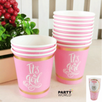 Foiled Pink Its A Girl Baby Shower Paper Cups (12)