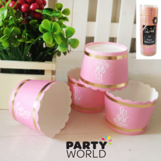 Foiled Pink Its A Girl Baby Shower Paper Baking Cups (25)