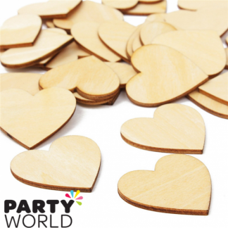 Wooden Heart Confetti - approx 100 per pack