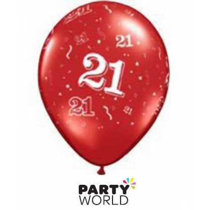 Qualatex 21st Pearl Ruby Red Balloons (5)